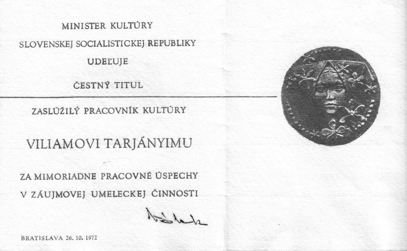cestny titul - Viliam Tarjányi - 21. 10. 1915 – 10. 01. 1996