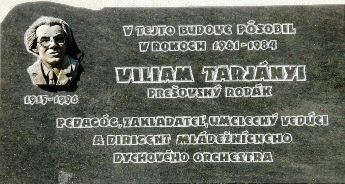 pamatna tabula otec - Viliam Tarjányi - 21. 10. 1915 – 10. 01. 1996