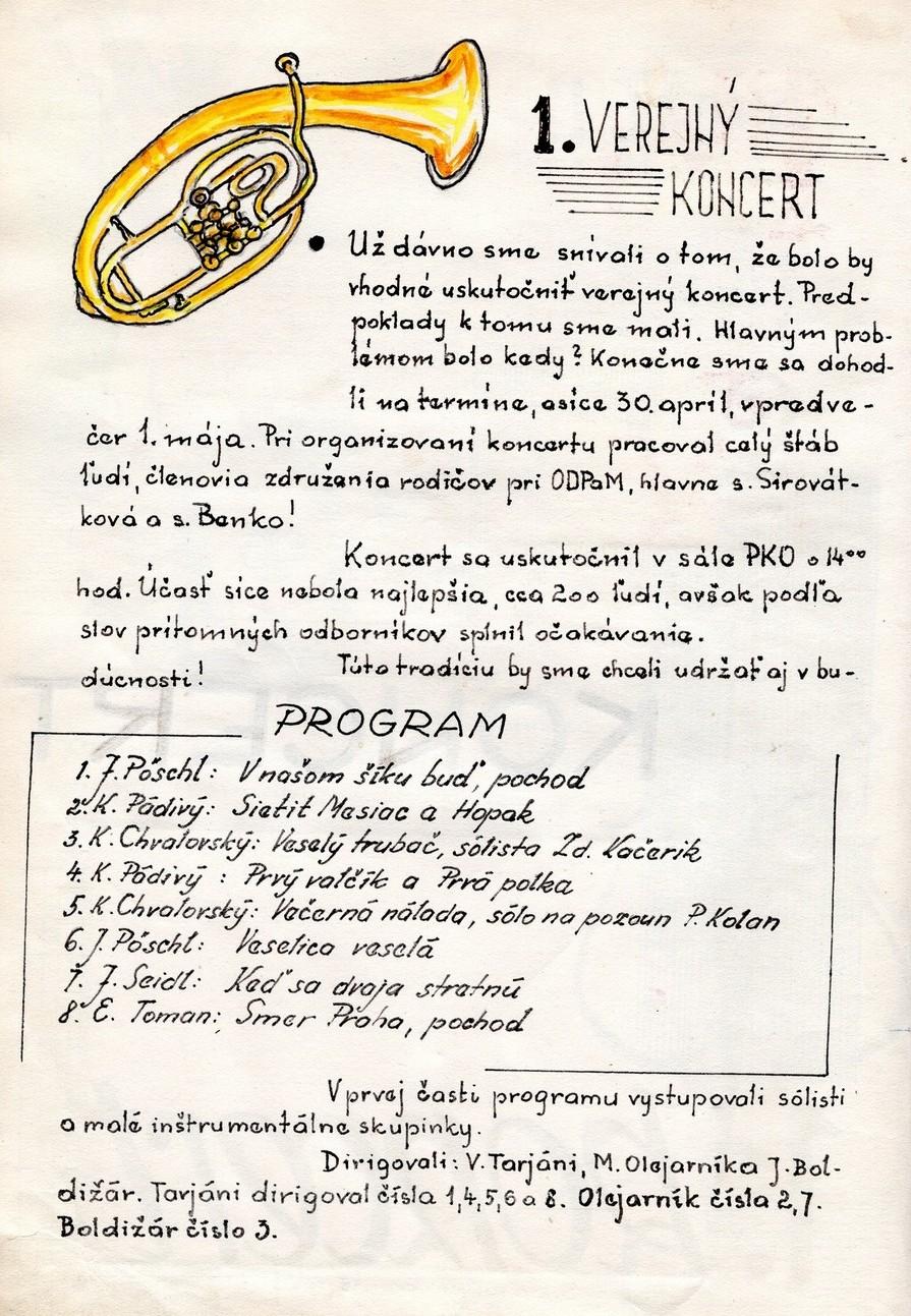 Program 1. verejného koncertu Mládežníckeho dychového orchestra ODPaM Prešov (PKO PRešov 30. apríl 1963)