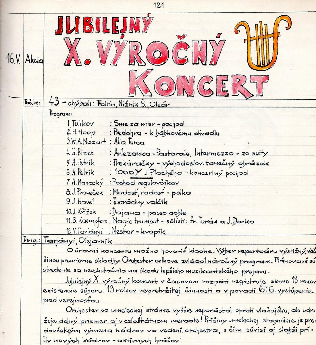 Program X. výročného koncertu MDO ODPaM Prešov (PKO Prešov 16.máj 1972)