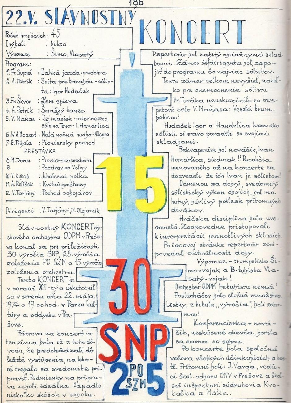 Program XII. slávnostného koncertu MDO ODPaM Prešov (PKO Prešov 22. máj 1974)