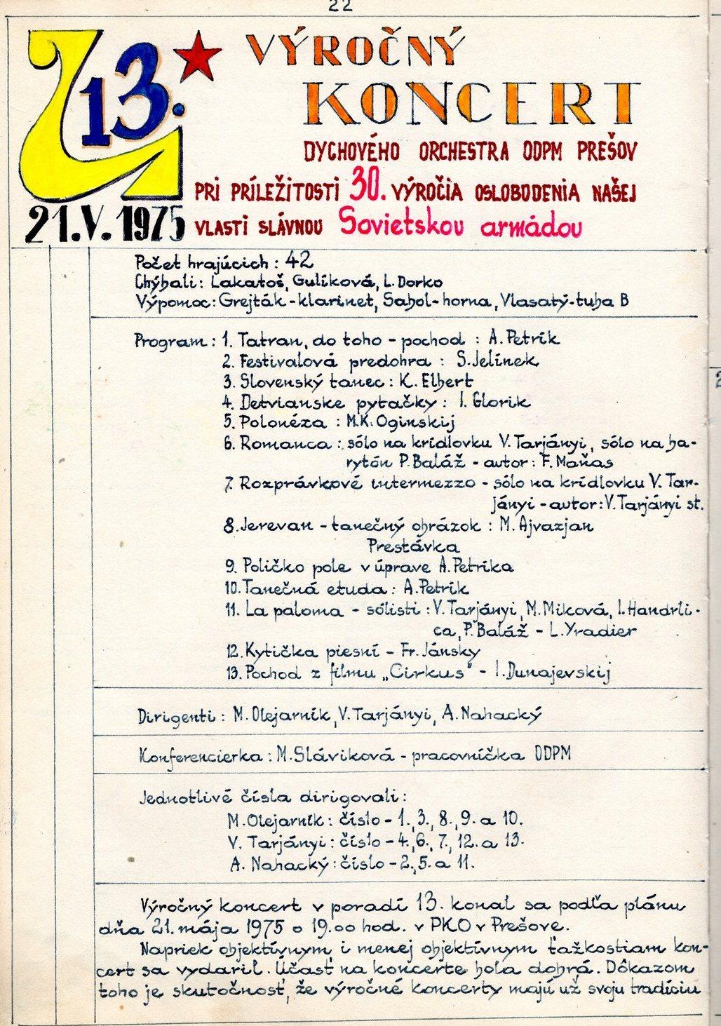 Program 13. výročného koncertu MDO ODPaM Prešov (PKO Prešov 21.máj1975)