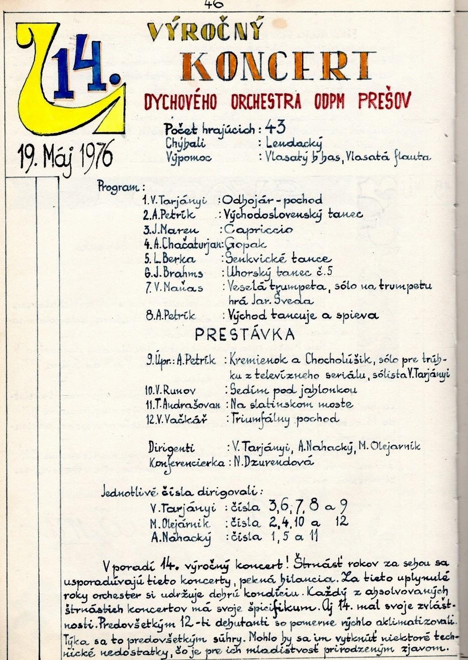 Program 14. výročného koncertu MDO ODPaM Prešov (PKO Prešov 19.máj 1976)