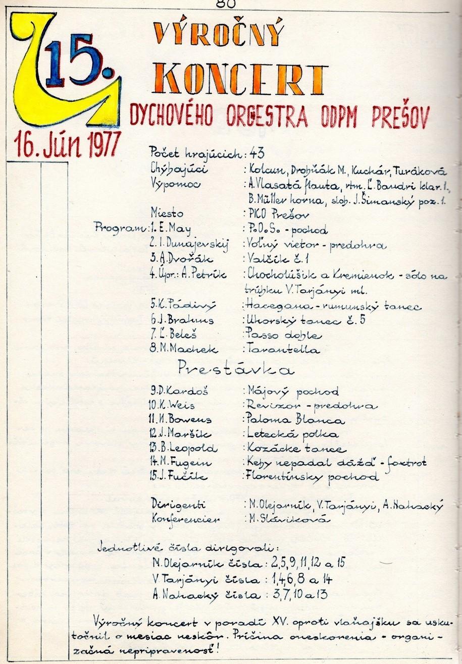 Program 15. výročného koncertu MDO ODPaM Prešov (PKO Prešov 16.jún 1977)