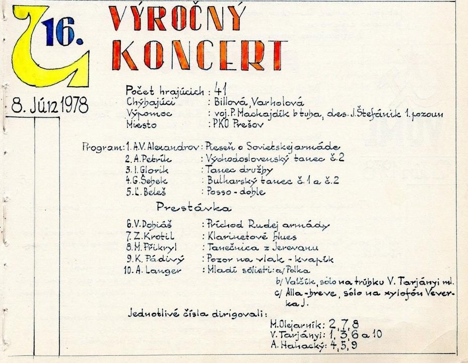 Program 16. výročného koncertu MDO ODPaM Prešov (PKO Prešov 8.jún 1978)