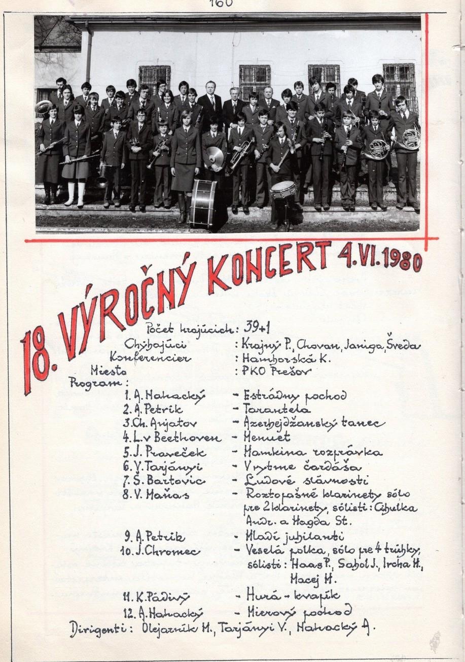 Program 18. výročného koncertu MDO ODPaM Prešov (PKO Prešov 4. jún 1980)