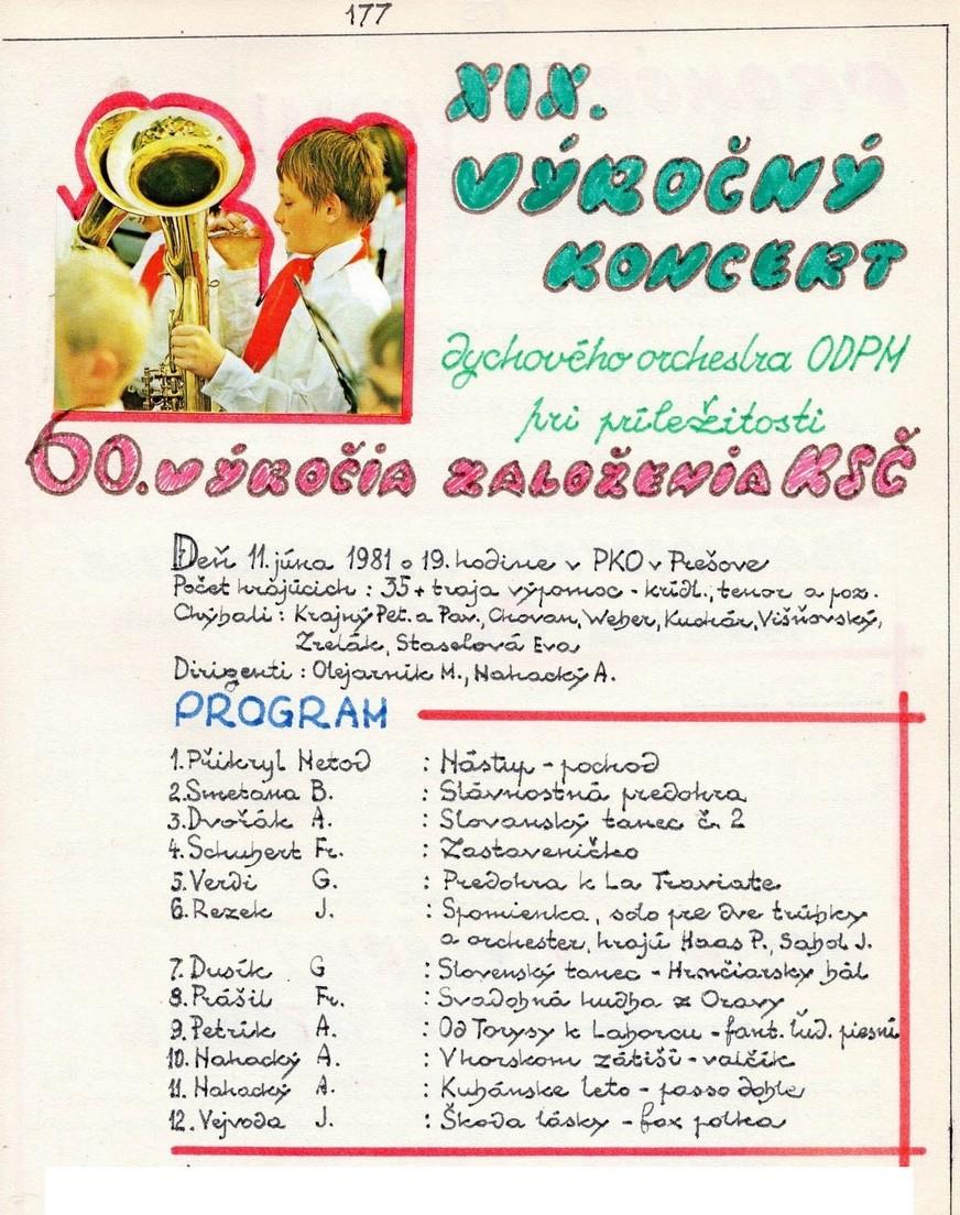 Program XIX. výročný koncert MDO ODPaM Prešov (PKO Prešov 11.jún 1981)