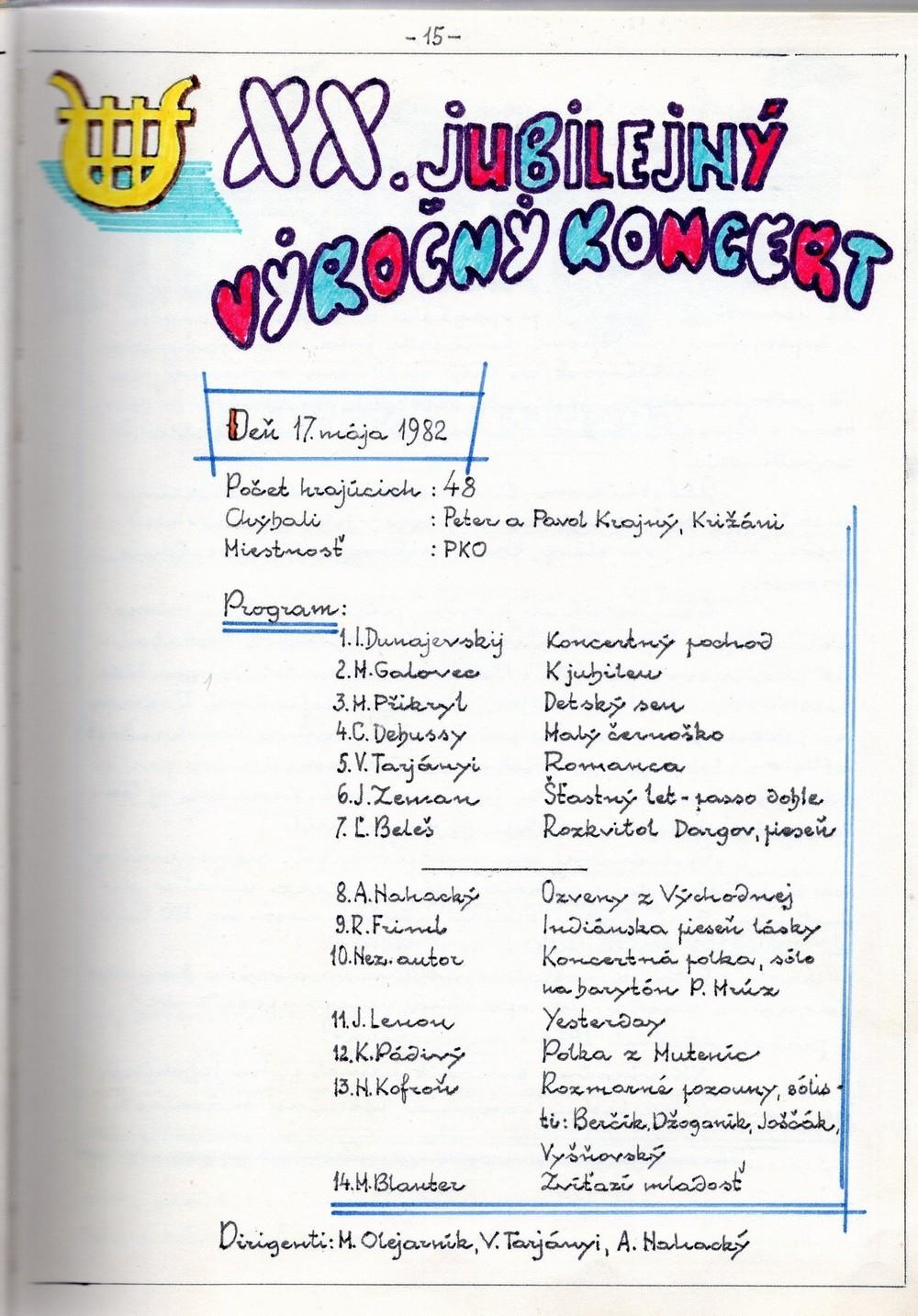 Program XX. výročného koncertu MDO ODPaM Prešov (PKO Prešov 17.máj 1982)