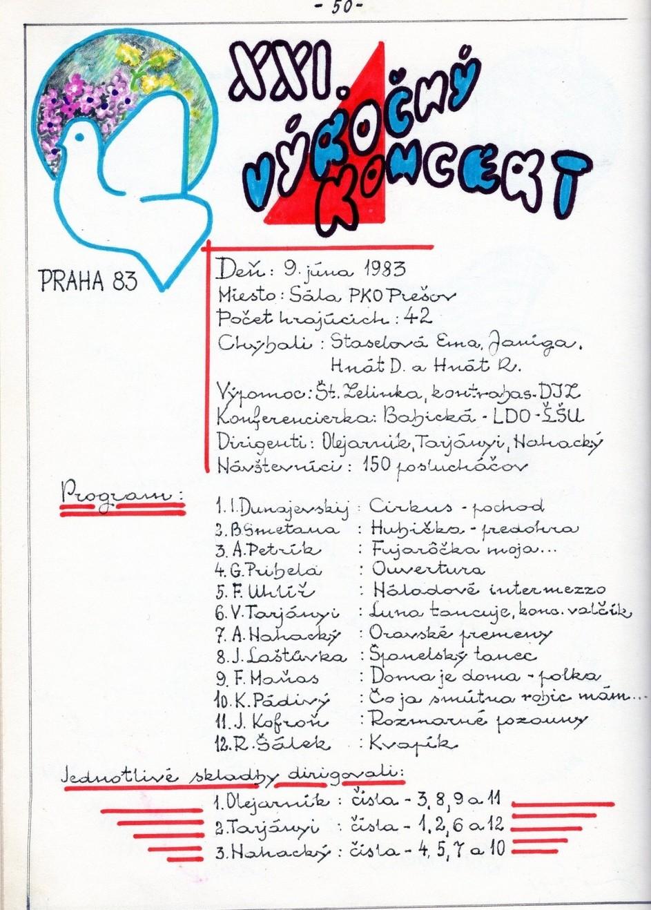 Program XXI. výročného kovertu MDO ODPaM Prešov (PKO Prešov 9.jún 193)
