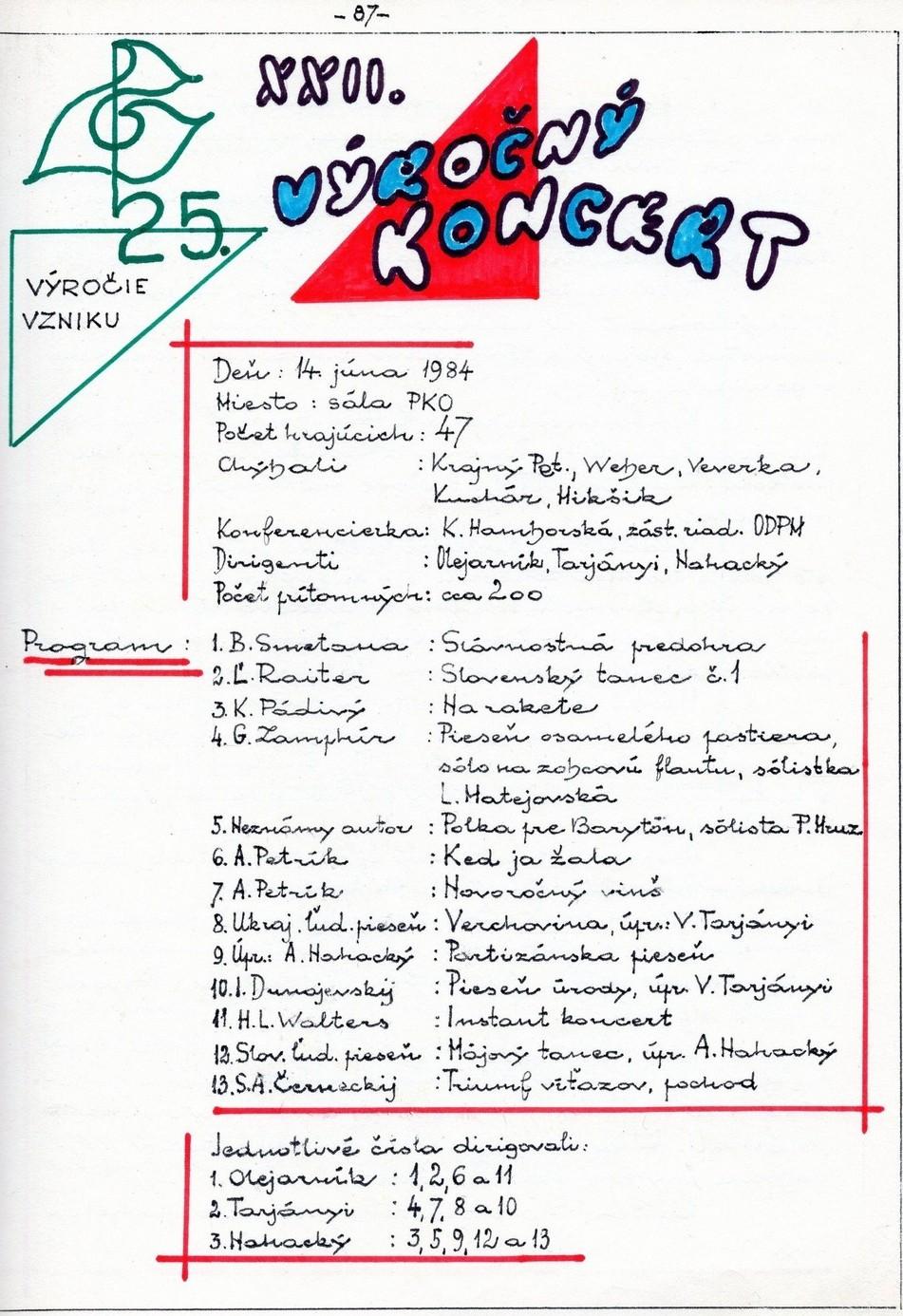 Program XXII. výročného koncertu MDO ODPaM Prešov (PKO Prešov 14. jún 1984)
