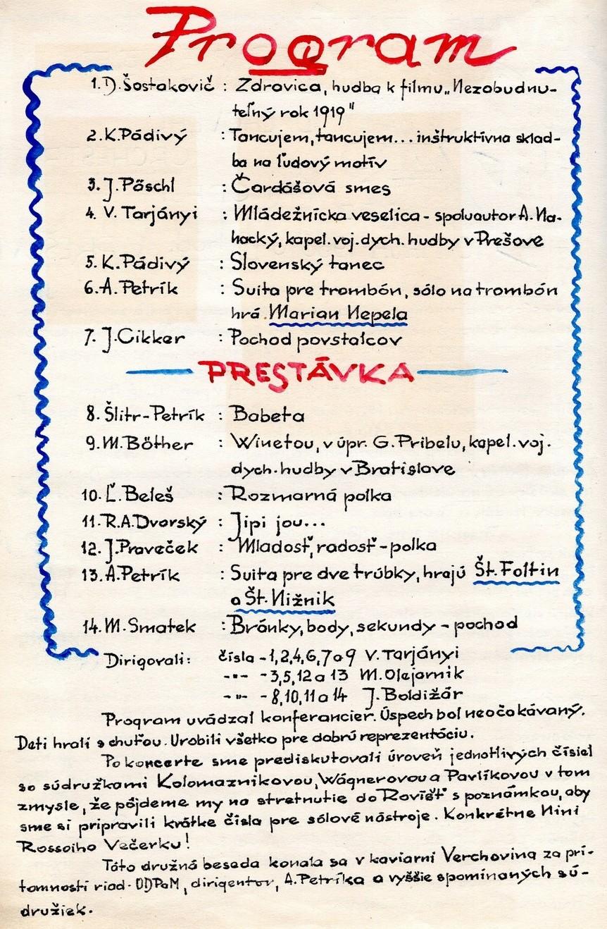 Program 4. slávnostného koncertu MDO ODPaM Prešov (PKO Prešov 10. máj 1966)