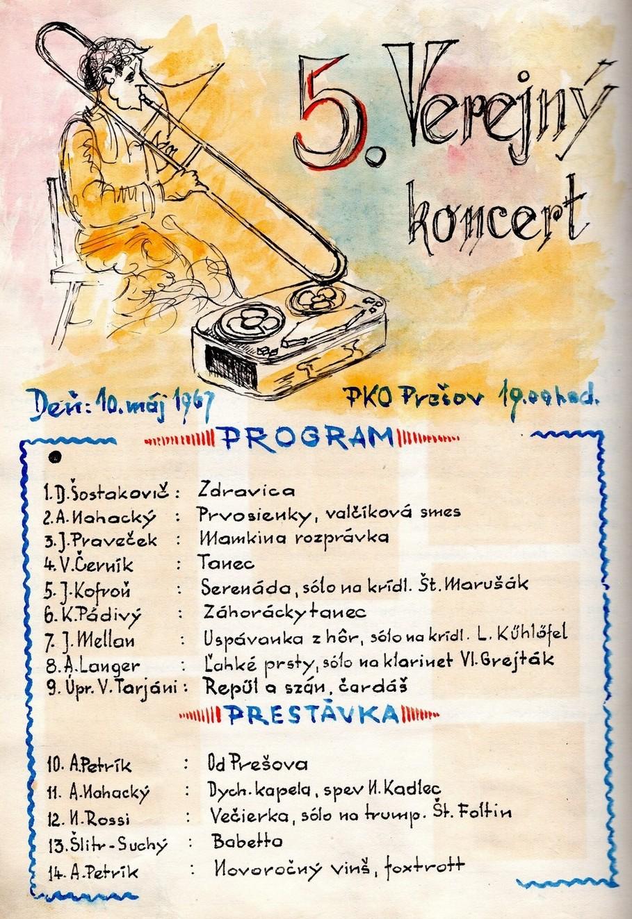 Program 5. verejného koncertu MDO ODPaM Prešov (PKO Prešov 10.máj 1967)