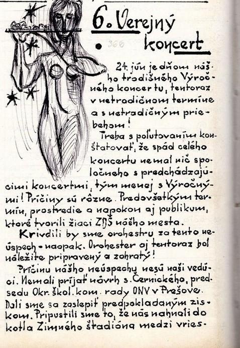 Program 6. výročného koncertu MDO ODPaM Prešov (Zimný štadión Prešov 24. jún 1968)