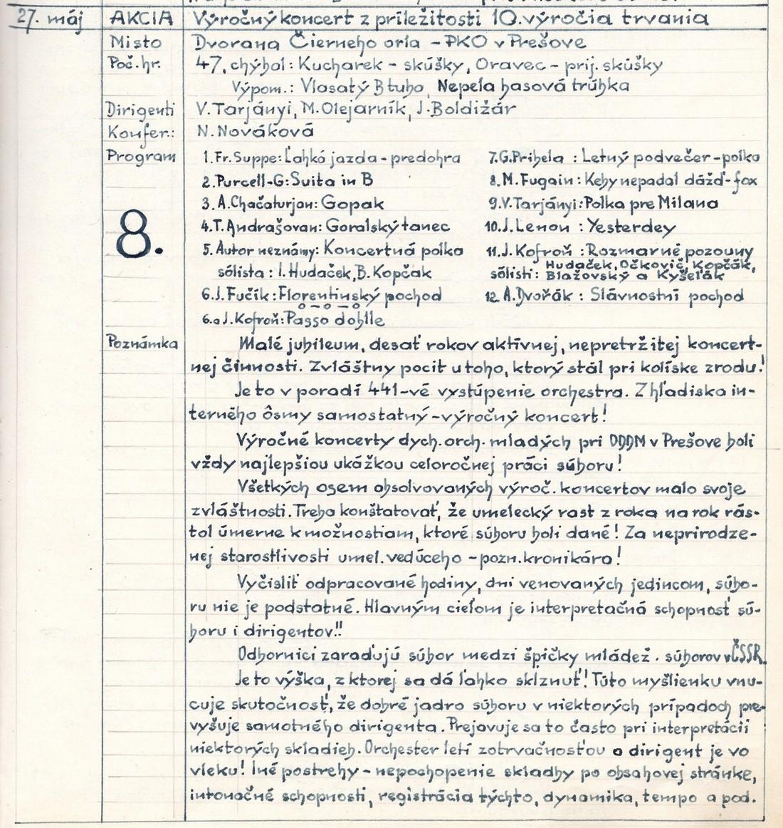 Program 8. výročného koncertu MDO ODPaM Prešov (PKO Prešov 27.05. 1970)